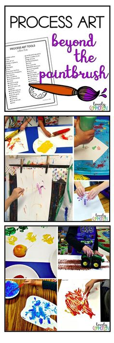 Process Art in Preschool, Pre-k and Kindergarten doesn't have to be hard to do! Providing children with materials to explore and paint with is an easy way to encourage process art. Grab this list of process art tools and canvas ideas to have at your fingertips! Preschool Centers, Preschool Songs, Kindergarten Classroom, Preschool Ideas, Small Group Activities, Learning Activities, Teaching Ideas, Play Based Learning, Learning Centers