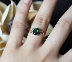 Leaf Ring Emerald Engagment Ring68mm Oval Cut Man Made