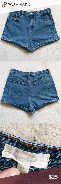 brandy melville high waisted shorts NWOT ✨ John Galt/Brandy Melville high-waisted denim shorts with cuffed bottoms. These go way above the belly button and have a slight stretch to them so they're super comfortable!   Ask me about bundling! Brandy Melville Shorts Jean Shorts