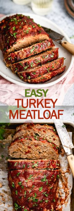 This Ground Turkey Meatloaf is a leaner take on the American classic meatloaf we all love This healthy meatloaf recipe is moist low-carb and so easy to make turkeyrecipe turkeymeatloaf meatloaf meatloafrecipe healthyrecipe lowcarb foolproofliving Best Ground Turkey Meatloaf Recipe, Healthy Ground Turkey, Moist Turkey Meatloaf, Turkey Meat Loaf Recipe, Recipes With Ground Turkey, Veggie Meatloaf, Turkey Loaf, Turkey Meals, Healthy Turkey Recipes