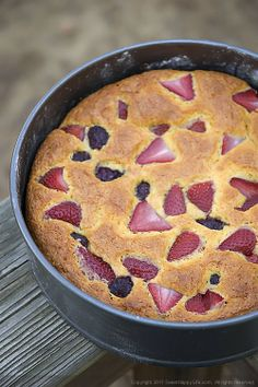 Sweet Corn Coffeecake with Strawberries & Blackberries