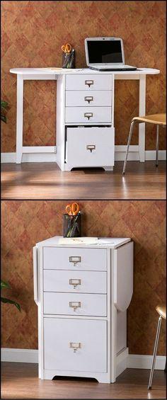"""Pinspiration for turning my red """"filing"""" craft cabinets into a space saving fold out craft table! Whether you need organization in the craft room, home office, or bedroom this folding organizer desk is a great space saving Space Saving Desk, Space Saving Furniture, Desk Space, Space Saver, Ikea Furniture, Furniture Ideas, Bedroom Furniture, Furniture Design, Small Office Organization"""