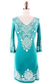 Teal print dress