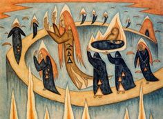 Xul Solar - Entierro (Burial), 1914  watercolor on paper, private collection