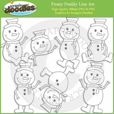 Frosty Freddy Line Art / Digital Stamps Download