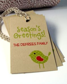 Personalized Christmas Gift Tags Qty 10  SEASON'S by scrapbits, $5.00