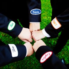 This groom gave all his groomsmen vintage 'name patches' for their wedding day suits ... we love it!!