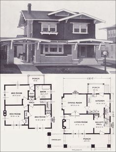 Carport/driveway 1923 Standard Homes Company - The Belmont ❤ Notice how each bedroom is on a corner, so they got the cross-breeze in the summer. So smart and logical. Bungalow House Plans, Craftsman House Plans, Craftsman Style, House Floor Plans, The Plan, How To Plan, Craftsman Exterior, Craftsman Bungalows, Bauhaus