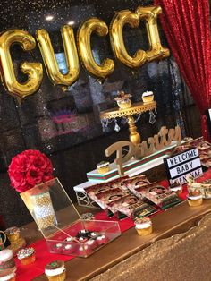 Donesha B's Baby Shower / Gucci - Photo Gallery at Catch My Party Shower Party, Baby Shower Parties, Baby Shower Gifts, Shower Cake, Birthday Dinners, Birthday Parties, Gucci Baby, Gucci Gucci, Care Bear Party