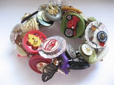 Vintage Button and Charm ROUTE 66 Bracelet  / One by ButtonTownUSA, $100.00