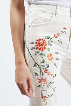 MOTO Floral Embroidered Mom
