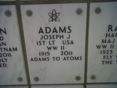 From Adams to Atoms----big ups to this veteran