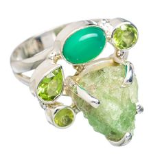 Rough Prehnite, Green Onyx, Peridot 925 Sterling Silver Ring Size 7.5 RING767832
