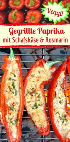 Spicy grilled bell pepper with sheep& cheese & rosemary-Würzig gegrillte Paprika mit Schafskäse & Rosmarin Grilled peppers with sheep& cheese & rosemary – super tasty, and quick and easy made for the vegies or as a side dish for the anti-vegies ; Barbecue Recipes, Grilling Recipes, Gourmet Recipes, Healthy Recipes, Cake Recipes, Snack Recipes, Grilled Bell Peppers, Stuffed Peppers, Sheep Cheese