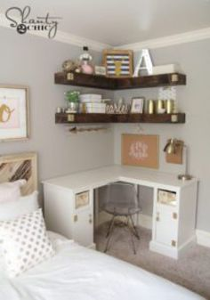 Use a corner shelf and floating shelves to organize a small bedroom.