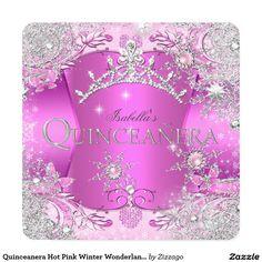 Quinceanera Hot Pink Winter Wonderland Tiara Invitation