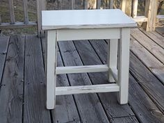 Distressed White Wood Side End Table - Farmhouse Goals