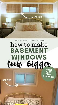 Wondering how to make basement windows look bigger? If you're stuck with a small basement window - that's up really high - we feel your pain and came up with a solution! Faux windows covered in blinds make this weird basement window make sense. Sage green panelling, white bedding, farmhouse side tables, clear glass lamps and painted faux brick make this guest bedroom airy and cozy. #basement #budgetdecor #farmhouse #cottagedecor #bedroom Faux Window, Small Basements, Clear Glass Lamps, Blinds, Basement Windows, Basement Guest Rooms, Faux Brick Walls, Decorating On A Budget, Built In Bookcase