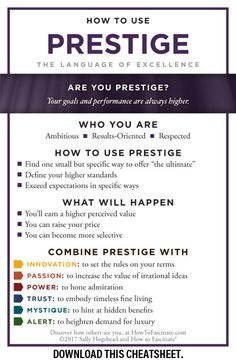 Prestige personalities instinctively seek consistent improvement, higher goals, and tangible evidence of their success.