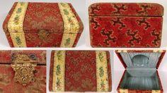 """GORGEOUS 7"""" Antique Victorian Celluloid Floral Velvet Mirror Dresser Jewelry Box #Victorian #Unknown"""
