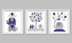Elephant Nursery Decor Navy Blue and Gray Boy's Room Decor Children Balloons Baby Shower 8 x 10 or 11 x 14 Set of Three 3 Prints or Canvas