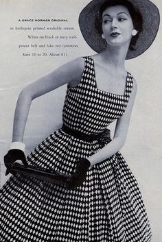 Dovima in a harlequin print dress for Grace Norman