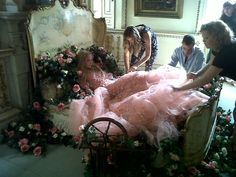 Harrods Magazine - Behind the scenes at the Sleeping Beauty shoot for the custom made ELIE SAAB Princess Aurora gown.