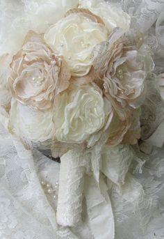 Bridal Bouquet Rustic Chic Ivory Bridal Bouquet ,Alternative Fabric Flower Bouquet, Vintage Wedding Bouquet,