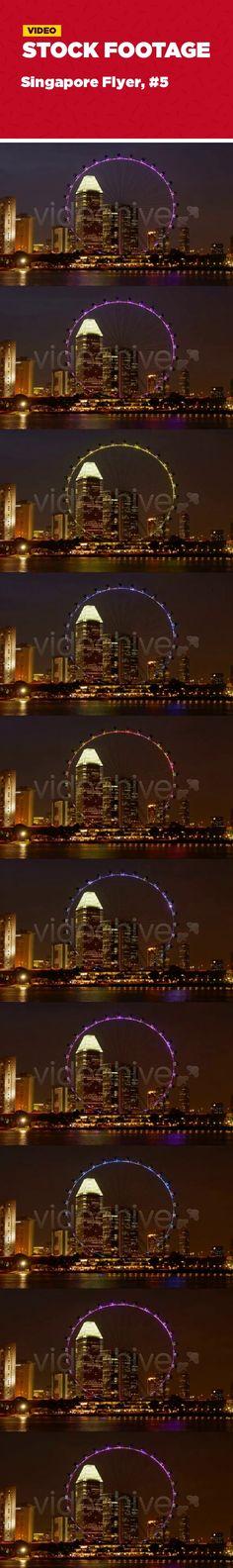 architecture, bay, city, famous, flyer, illuminated, landmark, marina, place, singapore, skyline, square Night time-lapse of Singapore Flyer