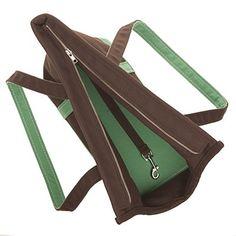 La lona del perro del portador del bolso de Brown / verde