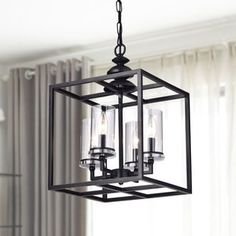 Shop for La Pedriza 4-light Antique Black Lantern Chandelier with Clear Glass Cylinders. Get free shipping at Overstock.com - Your Online Home Decor Outlet Store! Get 5% in rewards with Club O! - 19000076