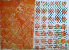 heARTfully inspired by Linda: SUMMERTIME!!! These were (gelli) printed on plain muslin: