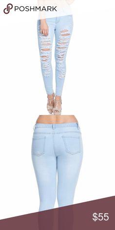 """Plus Kylee Distressed Jeans Super cute low rise distressed denim. Distressed Denim Jeans.  Get your pair today!! 97% COTTON, 3% SPANDEX.  Measurements 1X--waist 36.5"""", hip 44"""", thigh 11.75"""", inseam 31'. 2X--waist 38.5"""", hips 45"""", thigh 12.25"""", inseam 31"""".  3X--waist 39.5"""", hip 47"""", thigh 12.75"""", inseam 31"""". Jeans"""