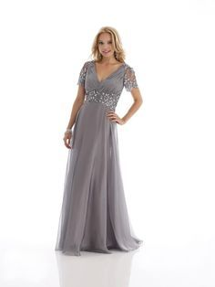 Grey V Neck Floor Length Chiffon A Line Mother Of The Bride Dress