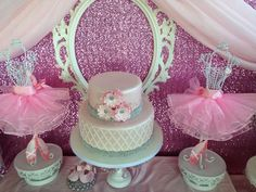 Gorgeous cake at a ballerina baby shower! See more party planning ideas at CatchMyParty.com!
