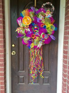 Fiesta Deco Mesh Wreath by VirgiesTreasures on Etsy Easter Wreaths, Fall Wreaths, Summer Wreath, 4th Of July Wreath, Balloon Wreath, Fiesta Decorations, Deco Mesh Wreaths, Diy Wreath, Holiday Crafts