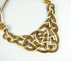 Celtic knot necklace Ivory gold and bronze bib by ShopPretties