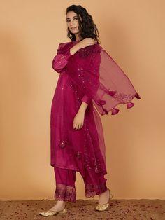 Magenta Hand Embroidered Modal Silk Kurta with Palazzo and Organza Dupatta- Set of 3 Casual Indian Fashion, Indian Fashion Dresses, Dress Indian Style, Women's Fashion, Simple Pakistani Dresses, Pakistani Dress Design, Pakistani Outfits, Pakistani Kurta Designs, Pakistani Dresses Online