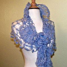 Bridal  Shawl Triangle Blue Flower Crochet by wildirishrosecrochet, $84.00