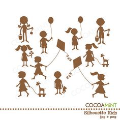 Los niños silueta Clip Art