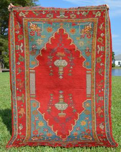 """Antique Turkish Oushak Area Rug // Size 3'7"""" x 5'6"""" // Bright Red, Blue &  Green"""