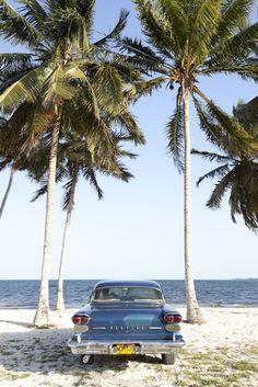 Antique Cuban car at the beach, Varadero Cuba