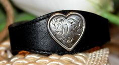 Valentine's Day Black Leather Cuff Bracelet with by 2rustynails, $30.   www.etsy.com/shop/2RustyNails