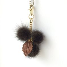 Ranch Mink Bag Charm Keychain Keyring pompom with by QLeathercom