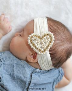 Baby Headband Ivory Pearl Heart Headband Baby by BySophiaBaby