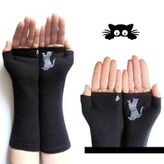 Fingerless Mitten Cat Lover gift for her Crazy by DarlingGloves