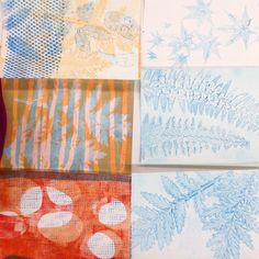 These beautiful papers are the insides of the drum leaf binding books and are monotype gelatin prints