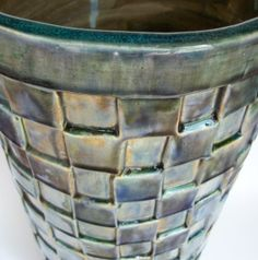 VERY Tall Ceramic  Planter Pot with Squares and Feet by JMNPOTTERY, $245.00
