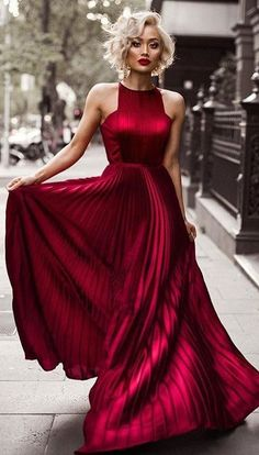 #winter #fashion /  Red Gown Dress