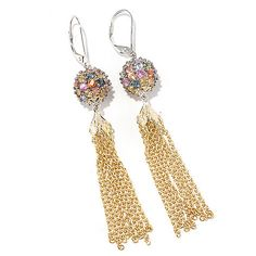 "154-954 - Gems en Vogue 3"" 5.76ctw Multi Sapphire Bead & Chain Tassel Earrings"